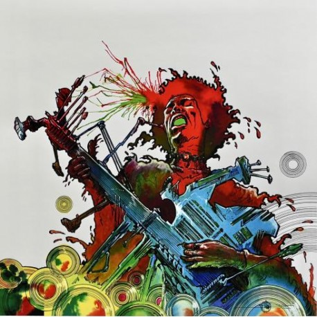 Druillet Philippe: Estampe pigmentaire, Jimi Hendrix.