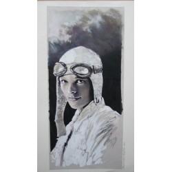 Frezzato Massimiliano : dessin original, l'Aviatrice.