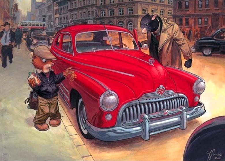 Blacksad, voiture rouge.
